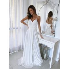 Vestido Longo Branco com Fios de Lurex e Fenda  Casamento Civil e Festas