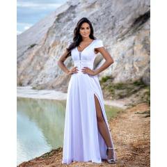 Vestido Longo Branco Crepe Acetinado Manguinha e Fenda Casamento Civil, Noiva Civil e Festas.
