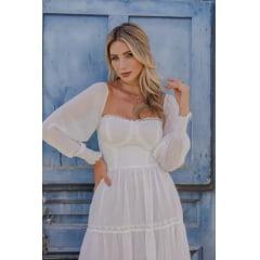 Vestido Branco Midi Busto Corpete Casamento Civil, Noiva Civil e Festas.