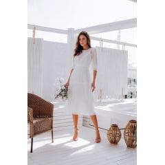 Vestido Midi Branco Transparência Casamento Civil e Festas