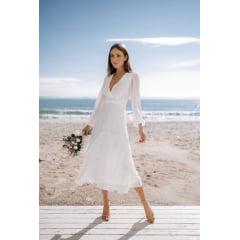 Vestido Branco Midi Manga Longa Saia em Camadas