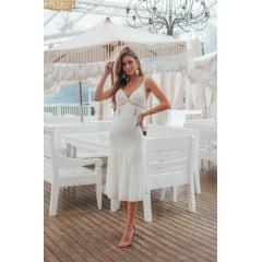 Vestido Midi Branco Casamento Civil e Festas Detalhes em Guipir no Busto e na Saia