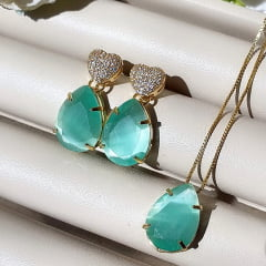 Conjunto Semijoia Coração Cravejado de Zircônia e Pedra Gota Calcedônia Verde