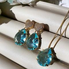 Conjunto Semijoia Coração Cravejado de Zircônia e Pedra Acqua Azul