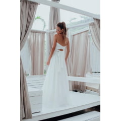 Vestido Casamento Civil e Festas Longo Mil Formas em Crepe Branco