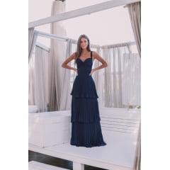 Vestido de Festa Longo Azul Marinho Plissado e Saia em Camadas Madrinha, Convidada, Formanda.