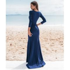 Vestido de Festa Longo Azul Royal Sereia Manga Longa e Fenda