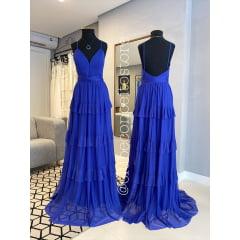 Vestido de Festa Longo Azul Royal Decote em V e Saia em Camadas Madrinha, Convidada, Formanda.