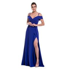 Vestido de Festa Longo Azul Royal Ombro a Ombro e Fenda