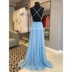 Vestido de Festa Longo Azul Serenity Alças Finas e Cinto em Macramê Madrinha, Convidada, Formanda.