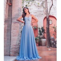 Vestido de Festa Longo Azul Serenity Busto Drapeado Madrinha, Convidada, Formanda.