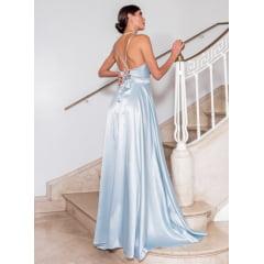 Vestido de Festa Longo Azul Serenity Cetim Decote V com Fenda Madrinha, Convidada, Formanda