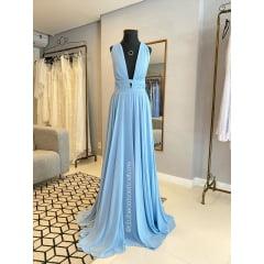 Vestido de Festa Longo Azul Serenity Decote em V e Fenda Madrinha, Convidada, Formanda.