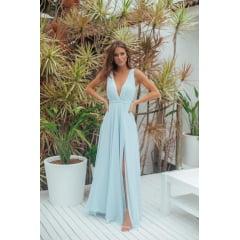 Vestido de Festa Longo Azul Serenity Detalhes Bordados - PEÇA EXCLUSIVA SITE