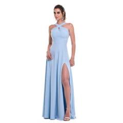 Vestido de Festa Longo Azul Serenity Frente Cruzada Madrinha, Convidada, Formanda.