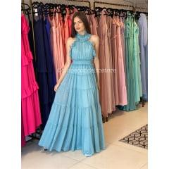 Vestido de Festa Longo Azul Serenity Gola Alta Lurex Madrinha, Convidada, Formanda.