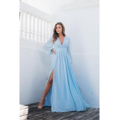 Vestido de Festa Longo Azul Serenity Manga Longa Poá de Lurex- PEÇA EXCLUSIVA SITE