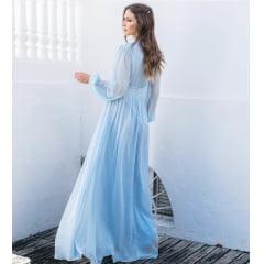 Vestido de Festa Longo Azul Serenity Manga Longa Poá de Lurex
