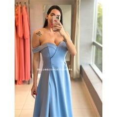 Vestido de Festa Longo Azul Serenity Ombro a Ombro Fenda Dupla Madrinha, Convidada, Formanda.