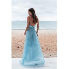 Vestido de Festa Longo Azul Serenity Plissado Madrinha, Convidada, Formanda.