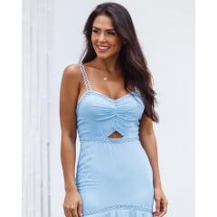 Vestido de Festa Longo Azul Serenity Sereia Com Fenda Madrinha, Convidada, Formanda.
