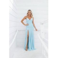 Vestido de Festa Longo Azul Serenity Sereia em Tule