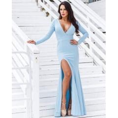 Vestido de Festa Longo Azul Serenity Sereia Manga Longa e Fenda