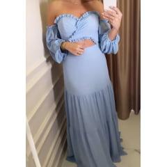 Vestido de Festa Longo Azul Serenity Tomara que Caia Com Manga Ciganinha Madrinha, Convidada, Formanda
