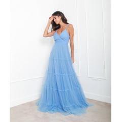Vestido de Festa Longo Azul Serenity Tule Alças trançadas Madrinha, Convidada, Formanda