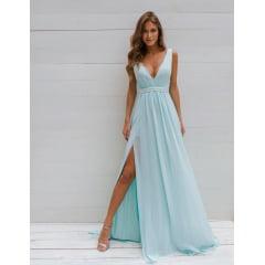 Vestido de Festa Longo Azul Tiffany Cinto Bordado