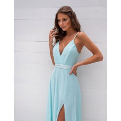 Vestido de Festa Longo Azul Tiffany Cinto Bordado e Fenda Madrinha, Convidada, Formanda.