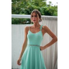 Vestido de Festa Longo Verde Menta Guipir e Saia Evasê Madrinha, Convidada, Formanda.