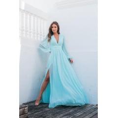 Vestido de Festa Longo Azul Tiffany Manga Longa Poá de Lurex-PEÇA EXCLUSIVA SITE