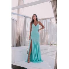 Vestido de Festa Longo Azul Tiffany Sereia em Tule