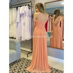 Vestido de Festa Longo Coral Fios de Lurex e Fenda Madrinha, Convidada, Formanda.