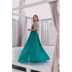 Vestido de Festa Longo Verde Decote em V e Fenda
