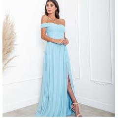 Vestido de Festa Longo Azul Candy em Tule Com Fios de Lurex e Fenda - Madrinha, Convidada, Formanda.