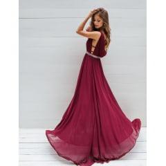 Vestido de Festa Longo Marsala Cinto Bordado Madrinha, Convidada, Formanda.