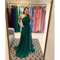 Vestido de Festa Longo Verde Mil Formas em Crepe