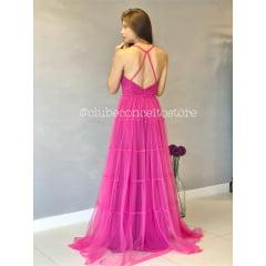 Vestido de Festa Longo Pink em Tule Busto Estruturado e Alças Trançadas Madrinha, Convidada, Formanda.