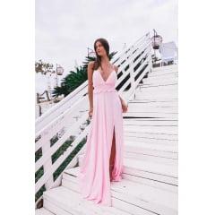 Vestido de Festa Longo Rosa Fluido e Costa Cruzada