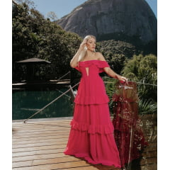 Vestido de Festa Longo Rosa Pink Ombro a Ombro com Tule Madrinha, Convidada, Formanda