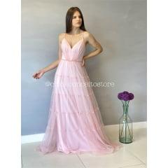 Vestido de Festa Longo Rosé Alças Trançadas em Tule Madrinha, Convidada, Formanda.