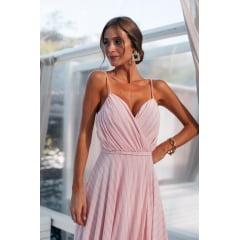 Vestido de Festa Longo Rosé Com Fios de Lurex Busto Drapeado Madrinha, Convidada, Formanda - EXCLUSIVO SITE.