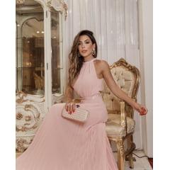 Vestido de Festa Longo Rosé Decote nas Costas e Saia Plissada Madrinha, Convidada, Formanda.