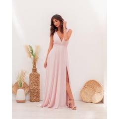 Vestido de Festa Longo Rosé Detalhes Trançados na Cintura e Fenda Madrinha, Convidada, Formanda.