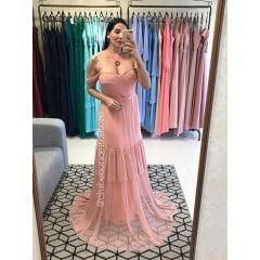 Vestido de Festa Longo Rosé em Tule