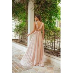 Vestido de Festa Longo Rosé Fenda e Costa Cruzada