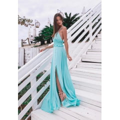 Vestido de Festa Longo Tiffany Fluido e Costa Cruzada