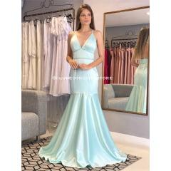 Vestido de Festa Longo Tiffany Sereia em Cetim Decote em V Madrinha, Convidada, Formanda